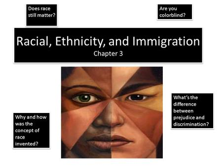 Racial, Ethnicity, and Immigration Chapter 3 Does race still matter? What's the difference between prejudice and discrimination? Are you colorblind? Why.