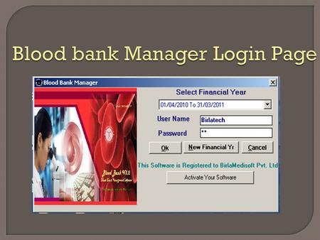 Blood bank Manager Login Page. Main Page Camp Entry.