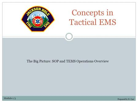 Concepts in Tactical EMS Prepared by B. Carr The Big Picture: SOP and TEMS Operations Overview Module 1/5.