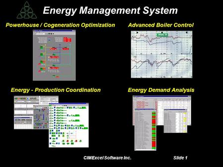 CIMExcel Software Inc. Slide 1 Energy Management System Energy Management System Powerhouse / Cogeneration OptimizationAdvanced Boiler Control Energy -