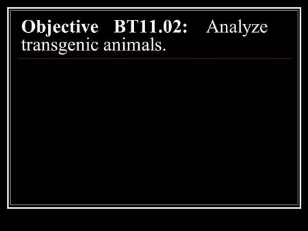 Objective BT11.02:Analyze transgenic animals.. Early beginnings Biotechnology – collection of scientific techniques that use living cells and molecules.
