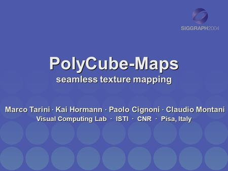 PolyCube-Maps seamless texture mapping