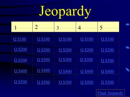 Jeopardy 1 2 3 4 5 Q $100 Q $200 Q $300 Q $400 Q $500 Q $100 Q $200 Q $300 Q $400 Q $500 Final Jeopardy.