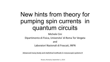 New hints from theory for pumping spin currents in quantum circuits Michele Cini Dipartimento di Fisica, Universita' di Roma Tor Vergata and Laboratori.