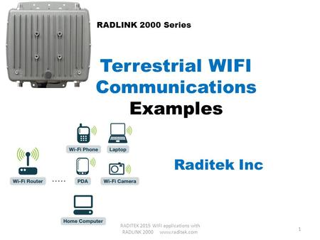 Terrestrial WIFI Communications Examples Raditek Inc RADLINK 2000 Series 1 RADITEK 2015 WIFI applications with RADLINK 2000 www.raditek.com.