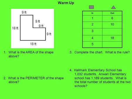 Warm Up 1.What is the AREA of the shape above? 2. What is the PERIMETER of the shape above? InOut 16 210 3 418 5 3.Complete the chart. What is the rule?