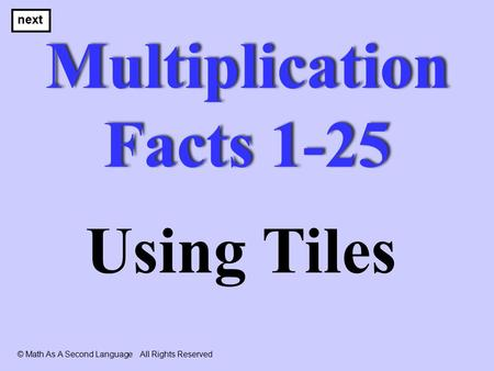 Multiplication Facts 1-25