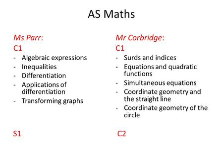 AS Maths Ms Parr: C1 -Algebraic expressions -Inequalities -Differentiation -Applications of differentiation -Transforming graphs Mr Corbridge: C1 -Surds.