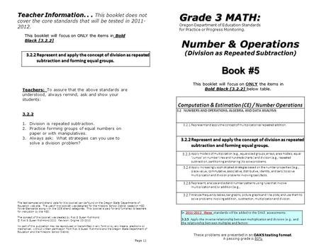 Number & Operations (Division as Repeated Subtraction) Page 11 Computation & Estimation (CE) / Number Operations 3.2 NUMBERS AND OPERATIONS, ALGEBRA, AND.