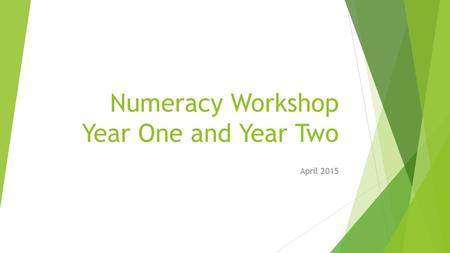 Numeracy Workshop Year One and Year Two April 2015.