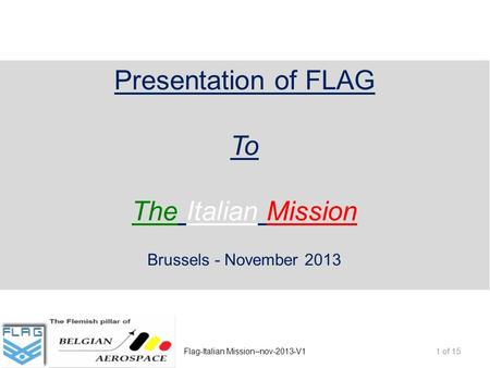 Presentation of FLAG To The Italian Mission Brussels - November 2013 1 of 15Flag-Italian Mission–nov-2013-V1.
