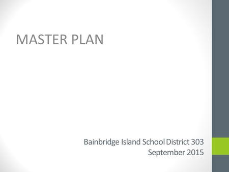 Bainbridge Island School District 303 September 2015 MASTER PLAN.