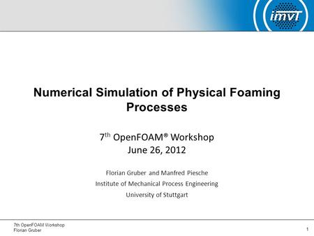Numerical Simulation of Physical Foaming Processes