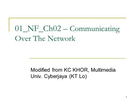 11 01_NF_Ch02 – Communicating Over The Network Modified from KC KHOR, Multimedia Univ. Cyberjaya (KT Lo)