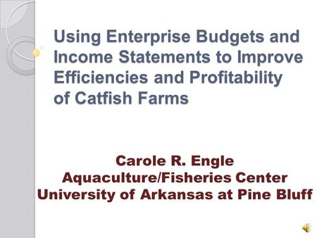 Using Enterprise Budgets and Income Statements to Improve Efficiencies and Profitability of Catfish Farms Carole R. Engle Aquaculture/Fisheries Center.