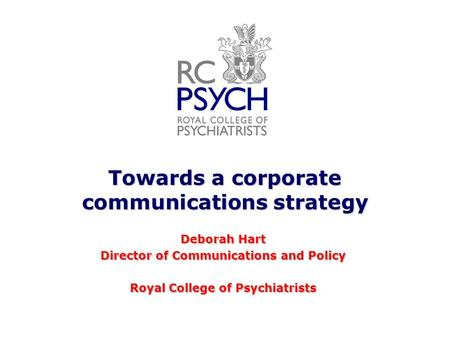 Towards a corporate communications strategy