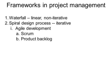 Frameworks in project management