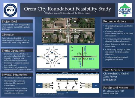 Orem City Roundabout Feasibility Study Brigham Young University and the City of Orem Determination of available land Roundabout parameters established.
