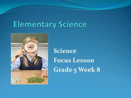 Science Focus Lesson Grade 5 Week 8. Week 8 – SC.H.1.2.2 Benchmark: The student knows that a successful method to explore the natural world is to observe.