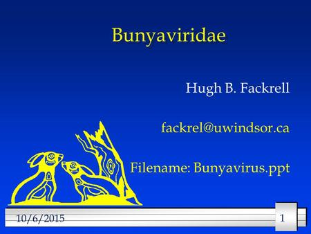 Hugh B. Fackrell Filename: Bunyavirus.ppt