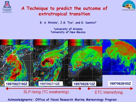 19970628/12Z19970627/00Z 19970627/12Z 19970629/00Z SLP rising (TC weakening). ETC intensifying. A Technique to predict the outcome of extratropical transition.