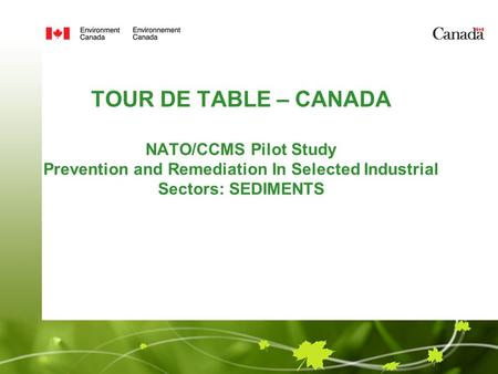 TOUR DE TABLE – CANADA NATO/CCMS Pilot Study Prevention and Remediation In Selected Industrial Sectors: SEDIMENTS Presented by Lisa Keller, P. Eng. Environment.