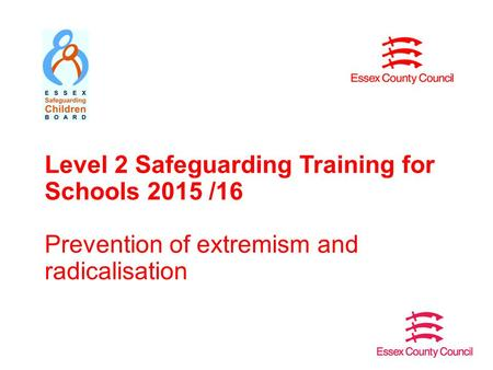 Level 2 Safeguarding Training for Schools 2015 /16 Prevention of extremism and radicalisation.
