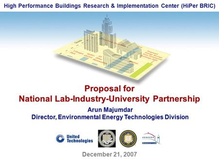 High Performance Buildings Research & Implementation Center (HiPer BRIC) Proposal for National Lab-Industry-University Partnership Proposal for National.