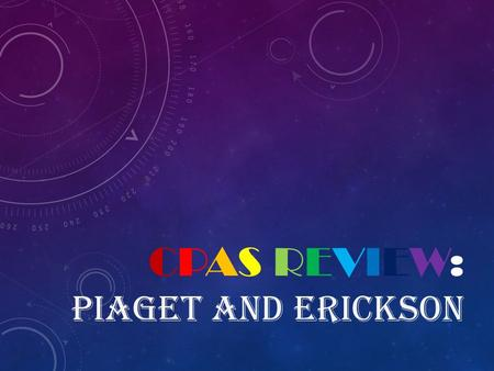CPAS REVIEW: PIAGET AND ERICKSON. Category 1Category 2Category 3Category 4Category 5 11111 22222 33333 44444 55555.