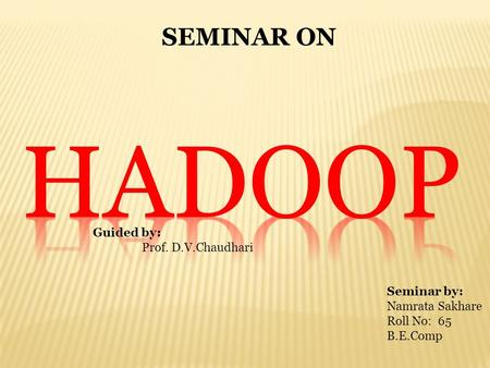 SEMINAR ON Guided by: Prof. D.V.Chaudhari Seminar by: Namrata Sakhare Roll No: 65 B.E.Comp.