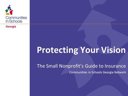 Georgia Protecting Your Vision The Small Nonprofit's Guide to Insurance Communities in Schools Georgia Network.