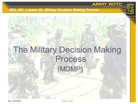 The Military Decision Making Process
