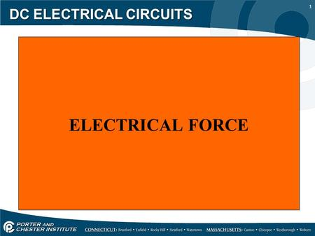 1 DC ELECTRICAL CIRCUITS ELECTRICAL FORCE. 2 DC ELECTRICAL CIRCUITS Current will not flow in a circuit unless an external force is applied. A popular.