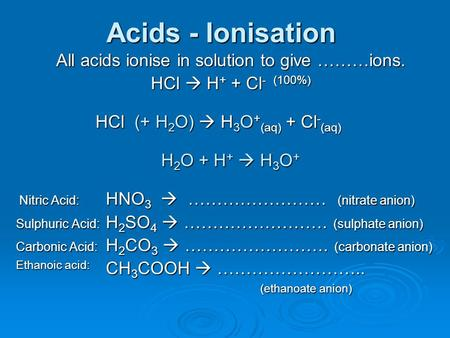 Acids - Ionisation All acids ionise in solution to give ………ions. HCl  H+ H+ H+ H+ + Cl - Cl - (100%) HCl (+ H 2 O) H 2 O)  H 3 O + (aq) H 3 O + (aq)