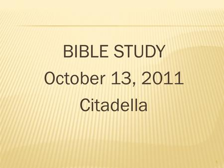 BIBLE STUDY October 13, 2011 Citadella 1. 2 The Holy Spirit is the third Person of the Holy Trinity and enjoyed the same eternal existence as the Father.