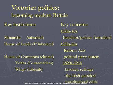 Copyright © 2006 The McGraw-Hill Companies Inc. Permission Required for Reproduction or Display. Victorian politics: becoming modern Britain Key institutions:Key.