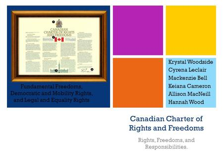 + Canadian Charter of Rights and Freedoms Rights, Freedoms, and Responsibilities. Krystal Woodside Cyrena Leclair Mackenzie Bell Keiana Cameron Allison.