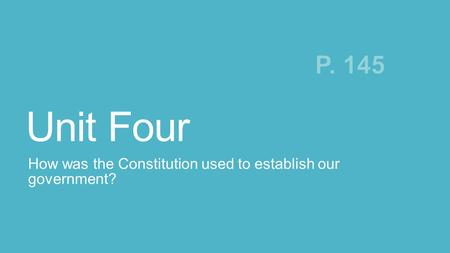 How was the Constitution used to establish our government?