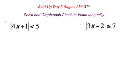 Start-Up Day 3 August 28 th -31 st Solve and Graph each Absolute Value Inequality.