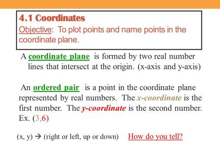 4.1 Coordinates Objective: To plot points and name points in the coordinate plane. A coordinate plane An ordered pair is formed by two real number lines.