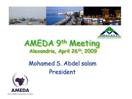 AMEDA 9 th Meeting Alexandria, April 26 th, 2009 Mohamed S. Abdel salam President.