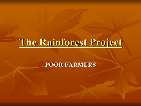 The Rainforest Project POOR FARMERS Intro In Brazil (south America) there is quite a big wealth gap! Its split up into roughly three sections the The.