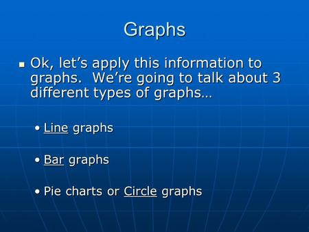 Graphs Ok, let's apply this information to graphs. We're going to talk about 3 different types of graphs… Ok, let's apply this information to graphs. We're.