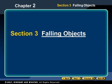Section 3 Falling ObjectsFalling Objects Section 3 Falling Objects Chapter 2.