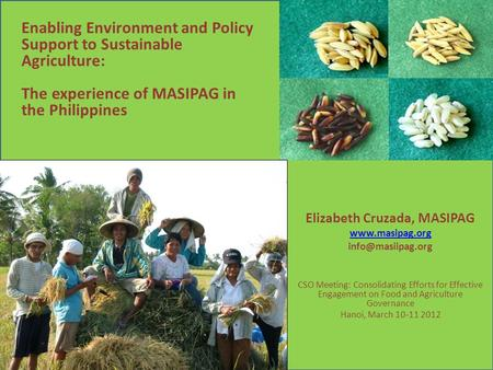 Elizabeth Cruzada, MASIPAG  CSO Meeting: Consolidating Efforts for Effective Engagement on Food and Agriculture Governance.