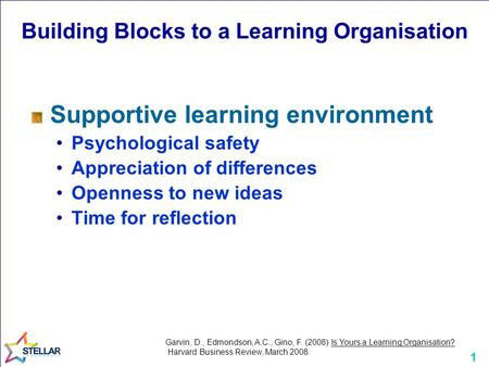 1 Building Blocks to a Learning Organisation Supportive learning environment Psychological safety Appreciation of differences Openness to new ideas Time.