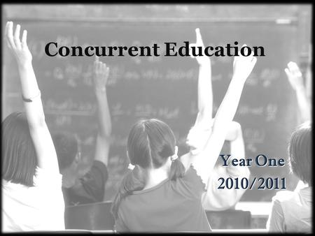 Concurrent Education Year One 2010/2011. Practice Teaching February 22-25, 2011 May 2-6, 2011 Mark on your calendar.