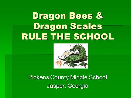 Dragon Bees & Dragon Scales RULE THE SCHOOL Pickens County Middle School Jasper, Georgia.