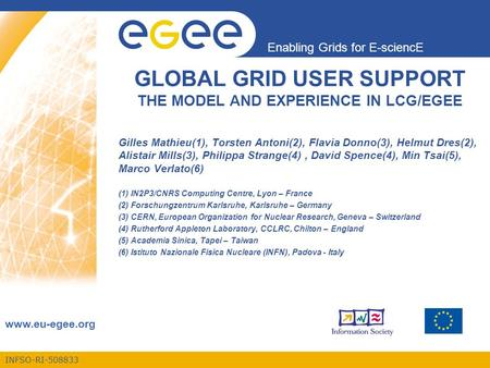 INFSO-RI-508833 Enabling Grids for E-sciencE www.eu-egee.org GLOBAL GRID USER SUPPORT THE MODEL AND EXPERIENCE IN LCG/EGEE Gilles Mathieu(1), Torsten Antoni(2),
