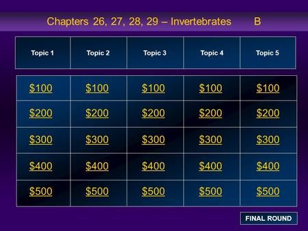 Chapters 26, 27, 28, 29 – Invertebrates B $100 $200 $300 $400 $500 $100$100$100 $200 $300 $400 $500 Topic 1Topic 2Topic 3Topic 4 Topic 5 FINAL ROUND.